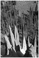 Pinnacles. Crater Lake National Park, Oregon, USA. (black and white)