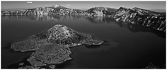 Blue lake and Wizard Island, morning. Crater Lake National Park (Panoramic black and white)