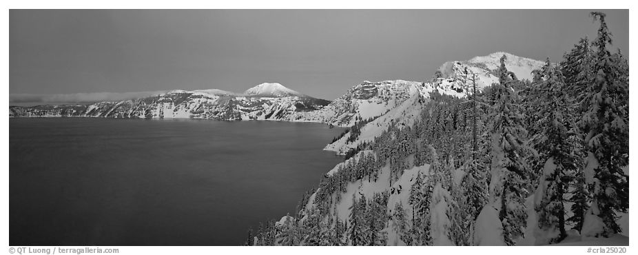 Pristine winter dusk scene. Crater Lake National Park (black and white)
