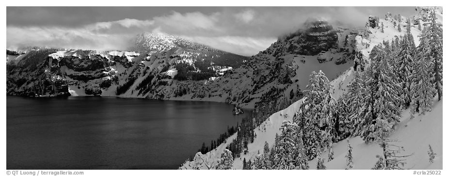 Fresh snow on lake rim. Crater Lake National Park (black and white)