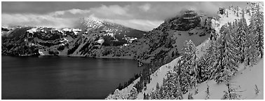 Fresh snow on lake rim. Crater Lake National Park (Panoramic black and white)