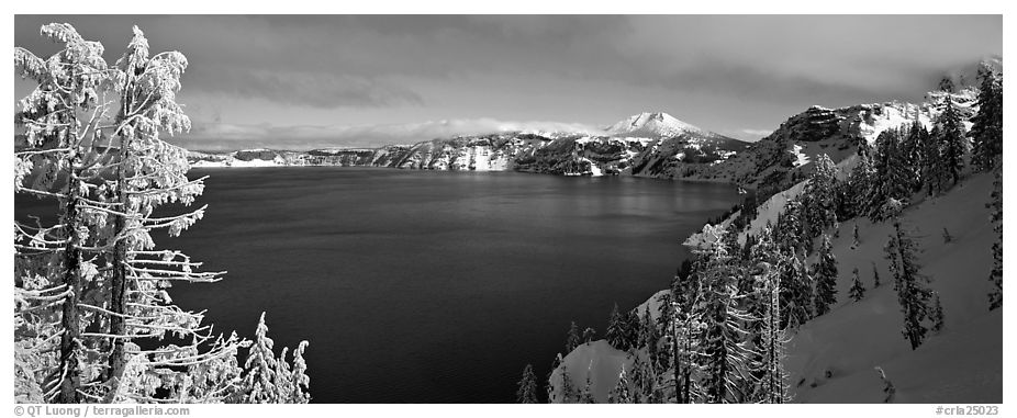 Lake and snow-covered trees. Crater Lake National Park (black and white)