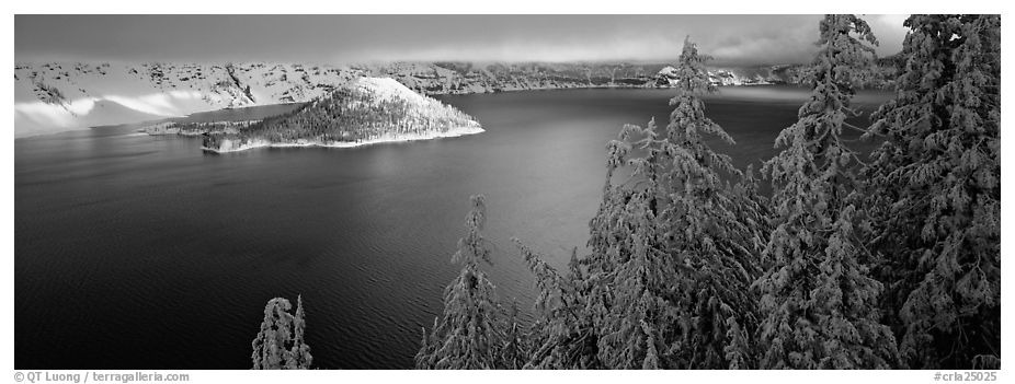 Light on the lake, winter sunrise. Crater Lake National Park (black and white)