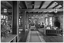 Inside Crater Lake Lodge. Crater Lake National Park, Oregon, USA. (black and white)