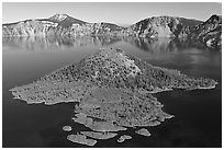 Wizard Island, afternoon. Crater Lake National Park, Oregon, USA. (black and white)