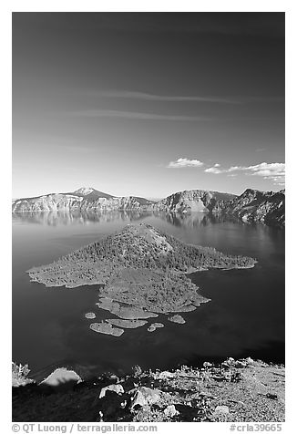 Skell Channel and Wizard Island. Crater Lake National Park (black and white)