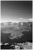 Skell Channel and Wizard Island. Crater Lake National Park, Oregon, USA. (black and white)