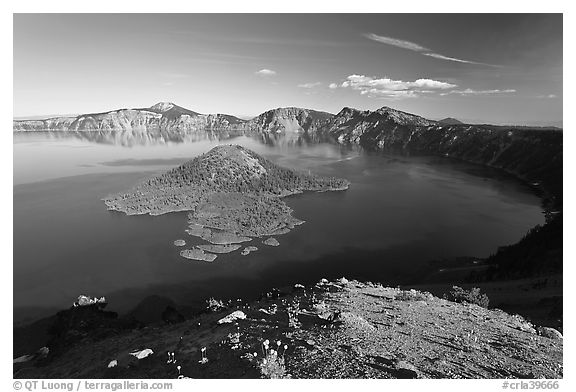 Crater Lake and Wizard Island, afternoon. Crater Lake National Park (black and white)