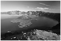 Crater Lake and Wizard Island, afternoon. Crater Lake National Park, Oregon, USA. (black and white)