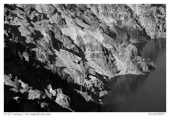Volcanic cliffs below Hillman Peak, afternoon. Crater Lake National Park (black and white)