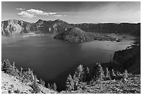 Wizard Island, Mount Scott, and Crater Lake. Crater Lake National Park, Oregon, USA. (black and white)