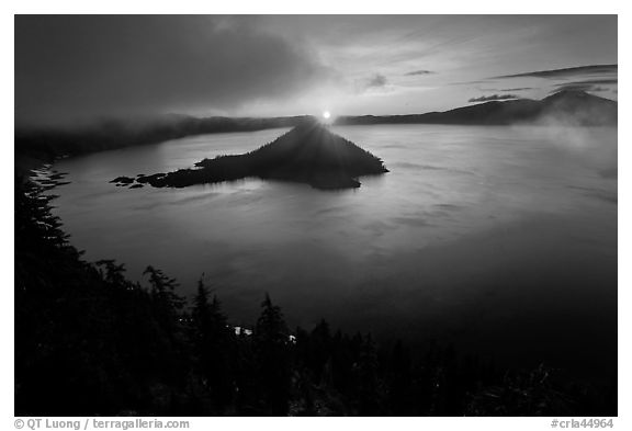 Wide view with sunrise and clouds. Crater Lake National Park (black and white)