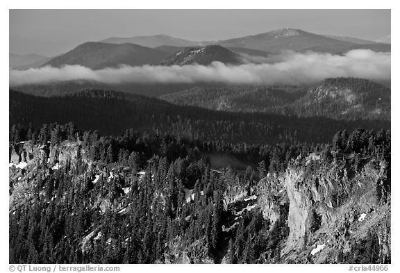 Lake rim and forest, and hills. Crater Lake National Park (black and white)