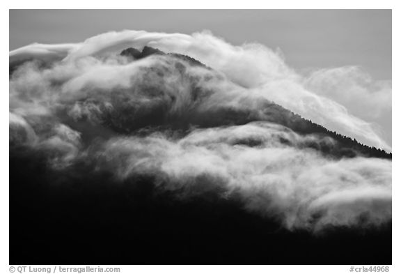 Clouds formed by high winds over Mt Scott. Crater Lake National Park (black and white)