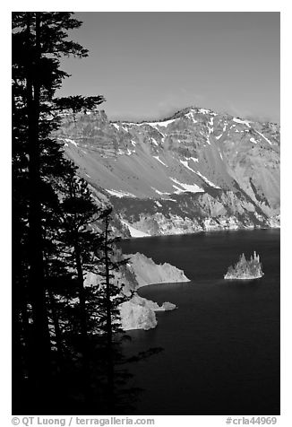 Phantom ship and Garfield Peak. Crater Lake National Park (black and white)