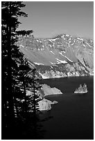 Phantom ship and Garfield Peak. Crater Lake National Park, Oregon, USA. (black and white)
