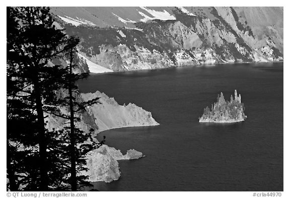 Island called Phantom Ship and crater walls. Crater Lake National Park (black and white)