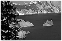 Island called Phantom Ship and crater walls. Crater Lake National Park, Oregon, USA. (black and white)