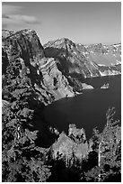 Dutton Cliff and lake. Crater Lake National Park, Oregon, USA. (black and white)