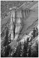 Pumice Castle. Crater Lake National Park, Oregon, USA. (black and white)