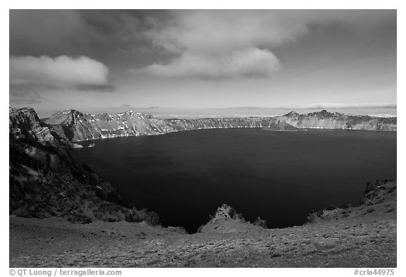 Lake view from Cloudcap overlook. Crater Lake National Park (black and white)