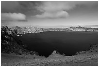 Lake view from Cloudcap overlook. Crater Lake National Park ( black and white)