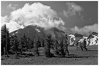 Mt Scott. Crater Lake National Park, Oregon, USA. (black and white)