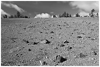 Pumice plain. Crater Lake National Park, Oregon, USA. (black and white)