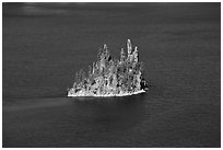 Phantom ship and blue waters. Crater Lake National Park, Oregon, USA. (black and white)
