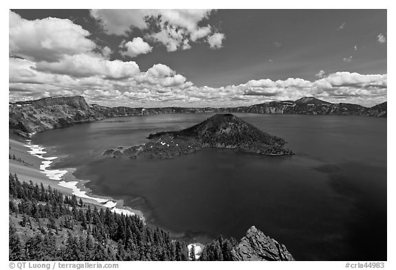 Deep blue lake and clouds. Crater Lake National Park (black and white)