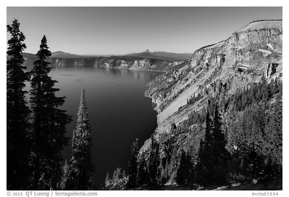 Cloudcap Bay and Pumice Castle. Crater Lake National Park (black and white)