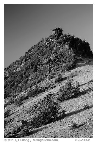 Mount Scott summit and fire lookout. Crater Lake National Park (black and white)