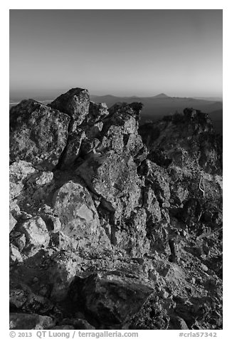 Mount Scott South summit ridge at sunset. Crater Lake National Park (black and white)