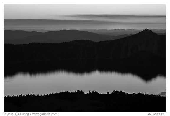 Crater Lake, Llao Rock, and ridges at sunset. Crater Lake National Park (black and white)