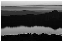 Crater Lake, Llao Rock, and ridges at sunset. Crater Lake National Park ( black and white)