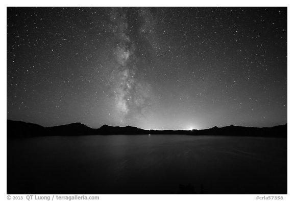 Milky Way and Crater Lake with setting moon. Crater Lake National Park (black and white)