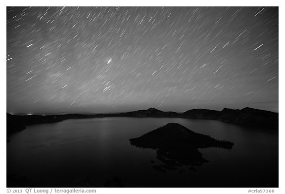 Star trails over Crater Lake and Wizard Island. Crater Lake National Park (black and white)