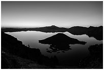 Wizard Island and Crater Lake at dawn. Crater Lake National Park ( black and white)