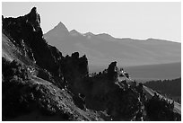 Volcanic spires. Crater Lake National Park ( black and white)