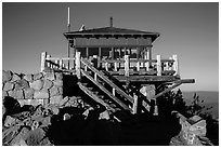 Fire lookout, the Watchman. Crater Lake National Park ( black and white)