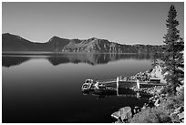 Boat dock, Cleetwood Cove. Crater Lake National Park ( black and white)