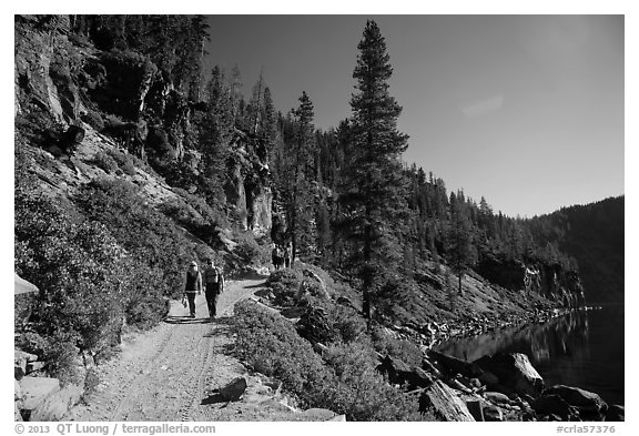 Hiking Cleetwood Cove trail. Crater Lake National Park (black and white)