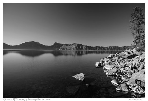 Cleetwood Cove, morning. Crater Lake National Park (black and white)