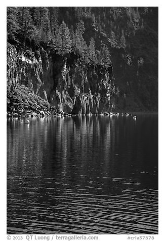 Cliffs, shadows, and reflections, Cleetwood Cove. Crater Lake National Park (black and white)