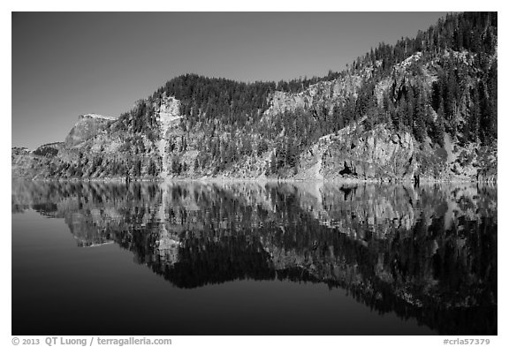 Cliffs reflected in calm waters. Crater Lake National Park (black and white)