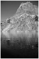 Llao Rock and reflection. Crater Lake National Park ( black and white)