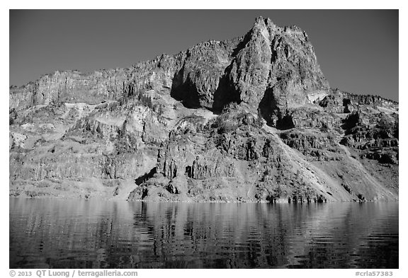 Llao Rock seen from the lake. Crater Lake National Park (black and white)