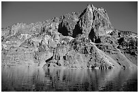 Llao Rock seen from the lake. Crater Lake National Park ( black and white)