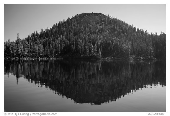 Wizard Island seen from water level. Crater Lake National Park (black and white)