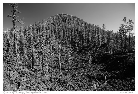 Hardened lava field and cinder cone, Wizard Island. Crater Lake National Park (black and white)